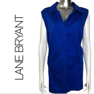 Lane Bryant Royal Blue Button Front Sleeve Top